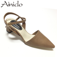 AINIDO Summer Elegant Buckle Strap Women Pumps Ankle Strap Square Toe Chunky Mid High Heeled Dress