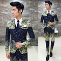 3 Piece Suit  Slim Fit Snow Dot 2016 New Fashion Desinger Wedding Party Suit Costume Homme Smoking Masculino Floral Suit Printed