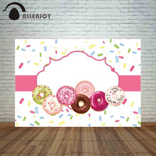 Allenjoy backdrop photocall colorful donuts and chocolate pink frame girl love birthday custom sweet photography background(China)