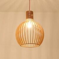Современной деревянной E27 светодио дный люстра домашнего декоративная клетка кухня лампы