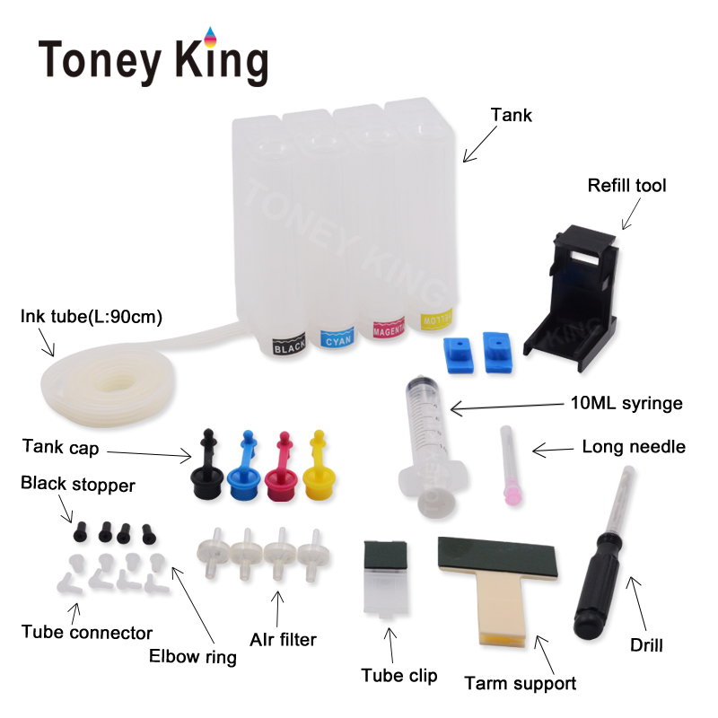 Toney King Universal Ciss Ink Tank System For <font><b>HP</b></font> 301 302 300 304 122 123 650 652 <font><b>140</b></font> <font><b>141</b></font> 350 351 62 XL Ink Cartridge Ciss kit image
