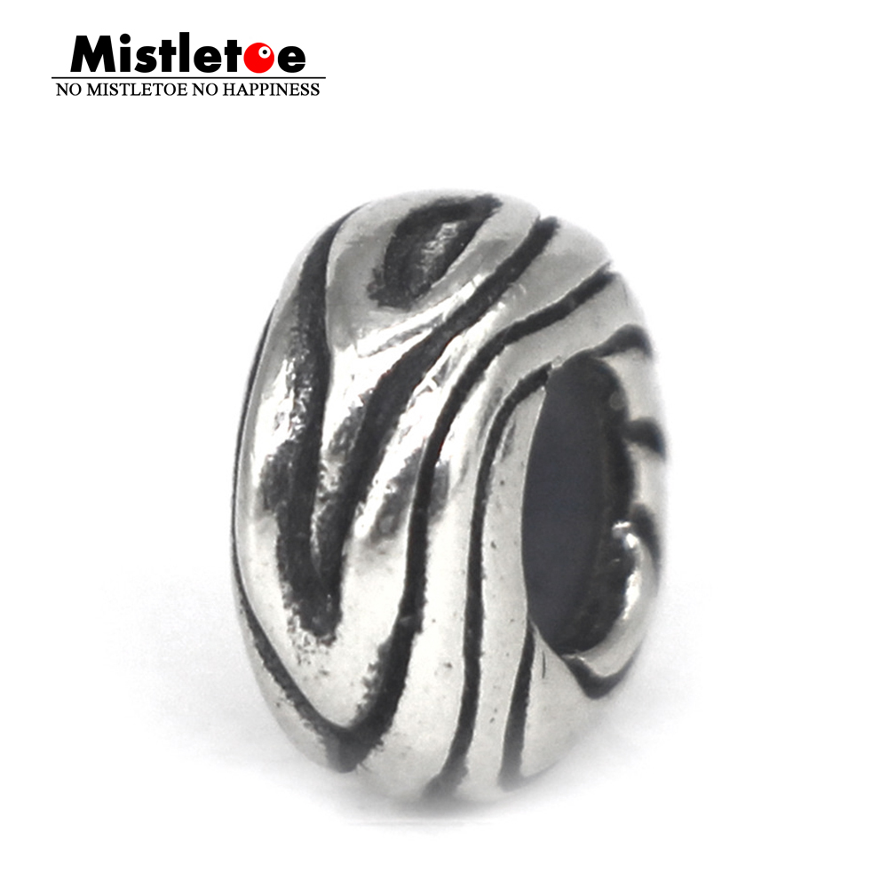 Mistletoe Genuine 925 Sterling Silver Wood-Ish Stopper Spacer Charm Bead Fit European Bracelet Jewelry