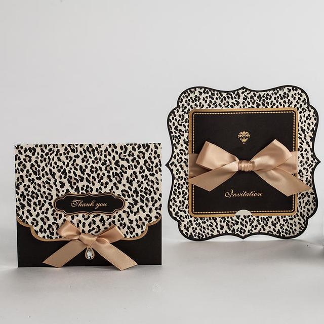 50sets Leopard Print Wedding Invitations Cards Engagement Gatefold Invites Favors W Ribbon Bow Rhinestone