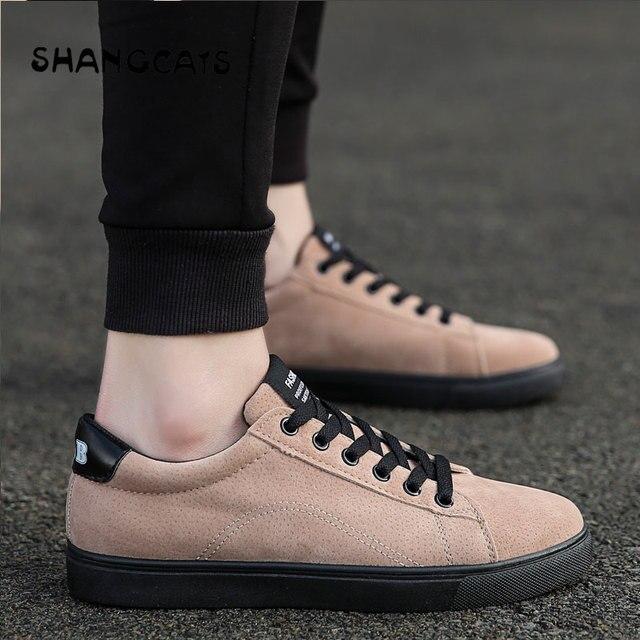 1c44df00 SHANGCATS hombres zapatos Casual Simple dedo del pie redondo zapatos  vulcanizados Mens diarios calzado negro alta