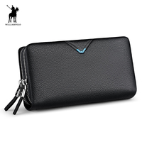 WILLIAMPOLO 2019 New Arrival Men Fashion 100% Real Leather Double Zipper Large Capacity Clutch Bag Portefeuille Homme #POLO280