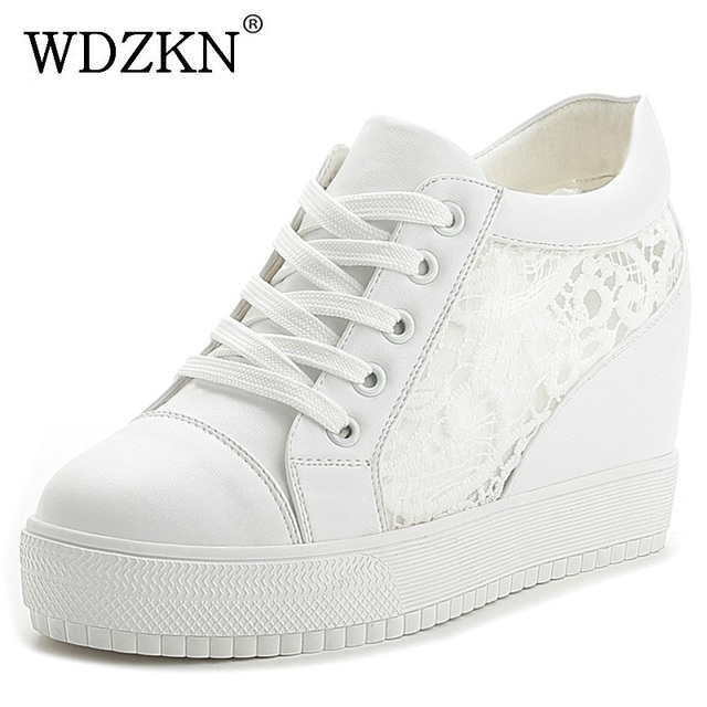 WDZKN 2017 Summer Wedge Platform Air Mesh Women Shoes Black White Breathable Height Increasing Women Casual Shoes Size 35-40