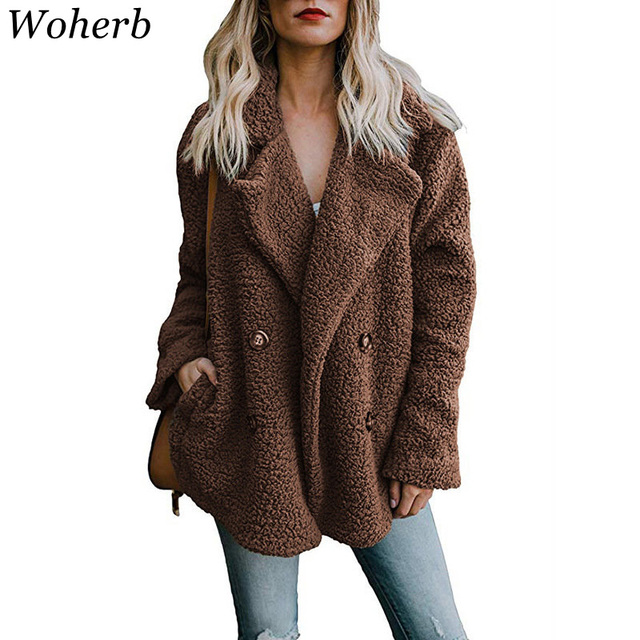 544a76f727b Woherb Plus Size 3XL Winter Jacket Women Streetwear Faux Fur Coat Ladies  Warm Soft Coats Outwear 2019 Jaqueta Feminina 20315