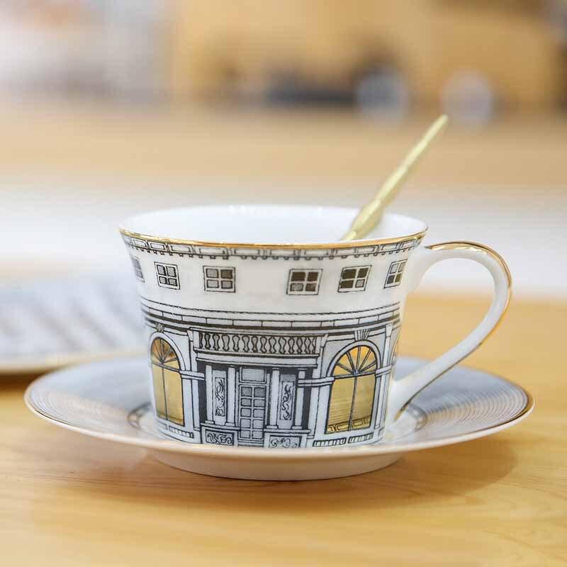 Plateau en céramique os assiette en porcelaine plat à dîner tasse et soucoupe ensemble de vaisselle Vajilla ensemble de couverts bord en or peinture à la main assiette Plate 1 ensemble - 6