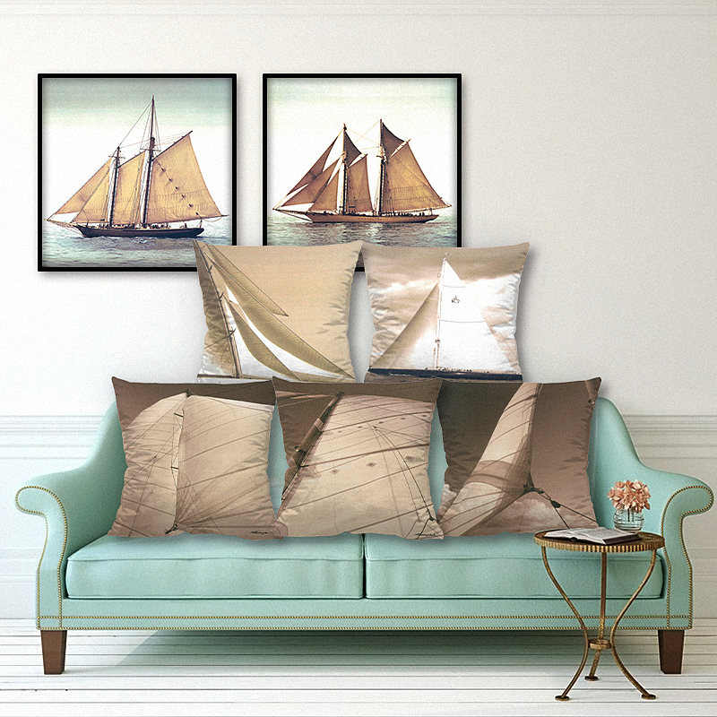 Home Decor Oil Boat Printed Cushion Cover Polyester Pillowcase Decorative Throw Pillow Cover for Sofa 45x45 cm Sofa Cushion