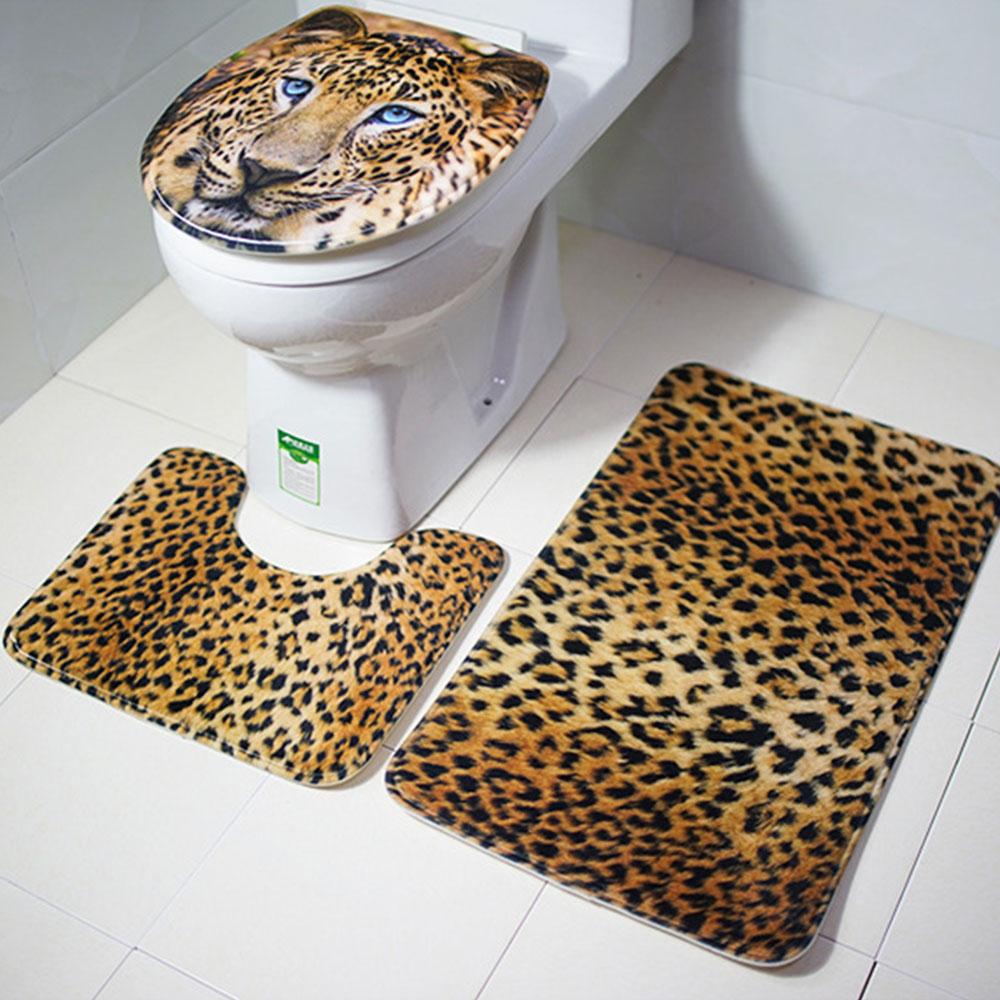 Tiger Leopard Animal Print Bath Mat Foot Mat Toilet Rug ...