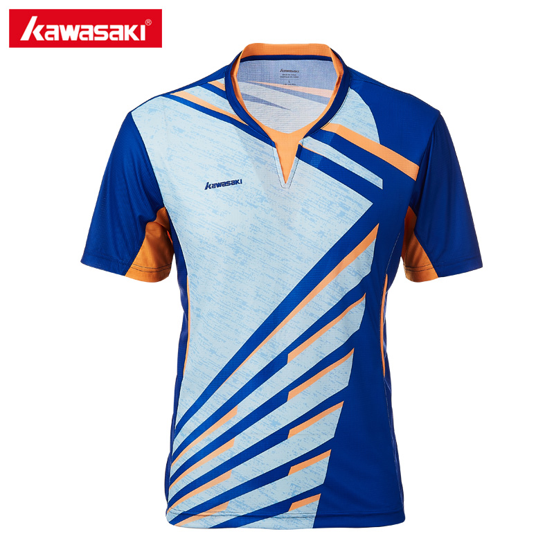 Genuine Kawasaki Men T-shirt V Neck Short Sleeves Badminton Shirts Tennis T Shirt For Male Outdoor Sports Sportswear ST-T1013 5b front highway road wheel set ts h95086 x 2pcs for 1 5 baja 5b wholesale and retail page 4