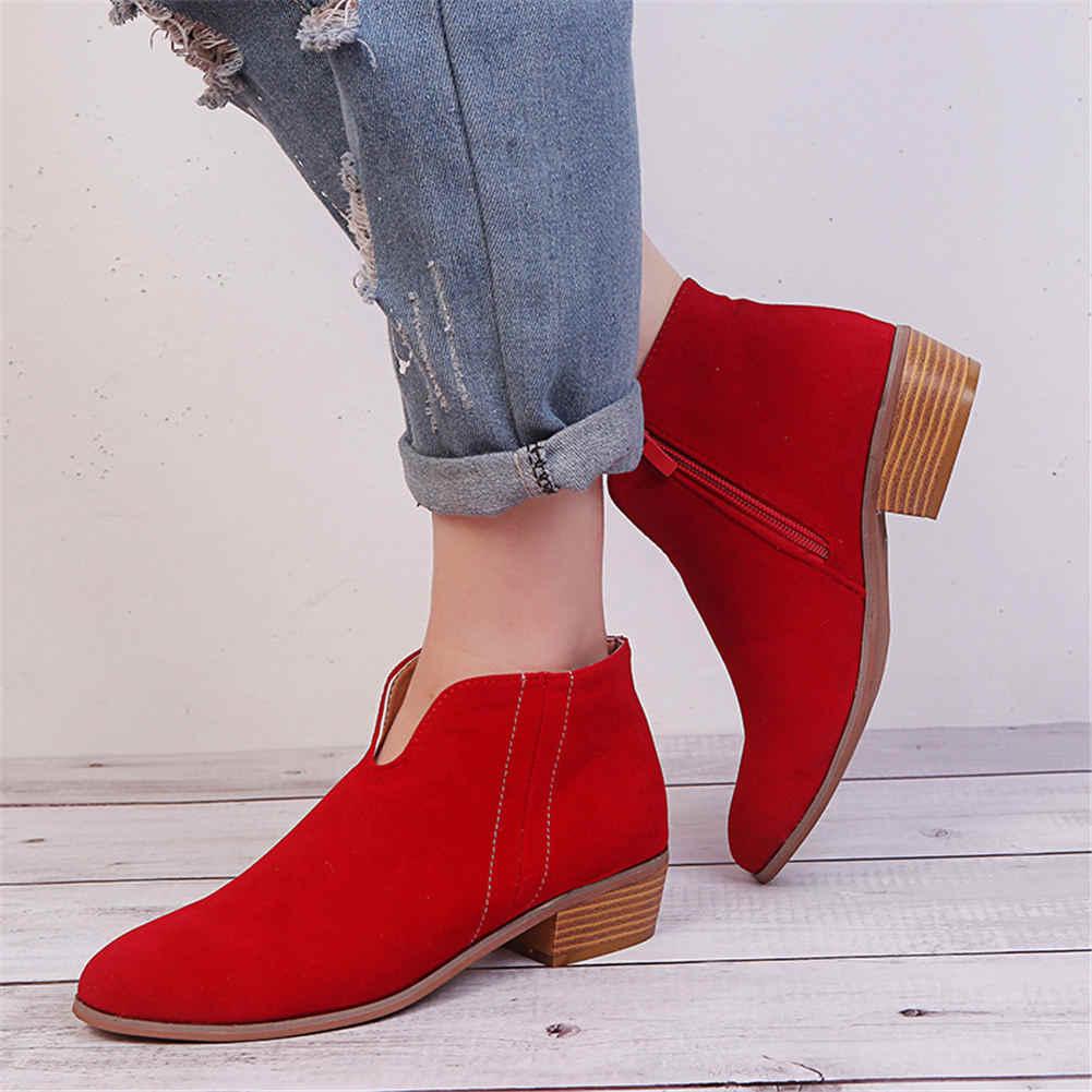 Marka Büyük Boy 35-43 serin akın leopar sip Kadın Ayakkabı Kadın moda kare topuklu eğlence Sonbahar yarım çizmeler kadın patik