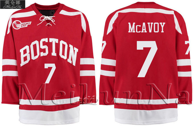 MeiLunNa Christmas Black Friday Customize Boston University 7 Charlie McAvoy Red Blank Sewn on Any Name Number Size