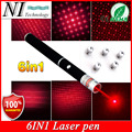 Super Bright 5mw 6in1 Red Laser Pointer Pen Beam Light Military Caneta Laser Verde Mira Laser Azul Different Patterns+Star Caps