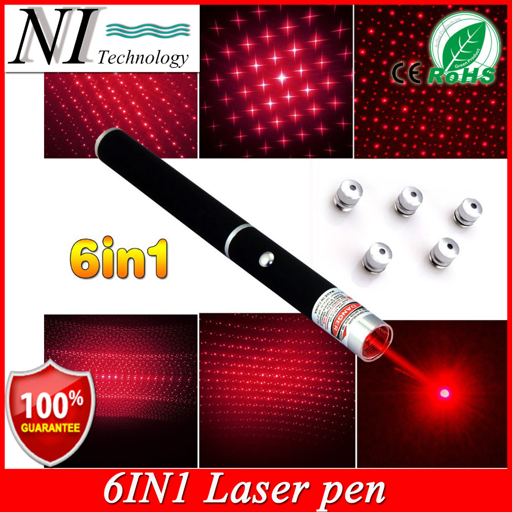 Super Bright 5mw 6in1 Red Laser Pointer Pen Beam Light Caneta Laser Verde Mira Laser Azul Different Patterns+Star Caps