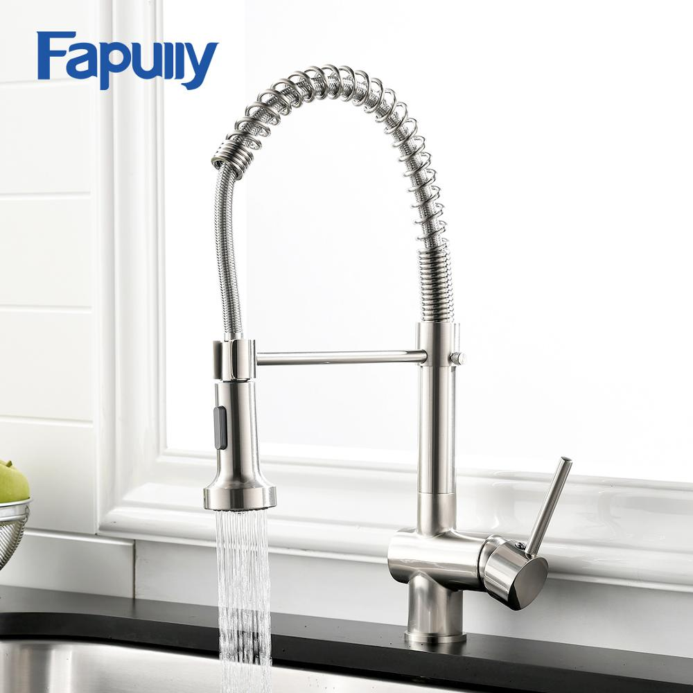 Fapully Kitchen Faucet Nickel Brushed Deck Mounted Hot And Cold Water Spring Pull Down Spray Spout Kitchen Mixer Tap 999 33n