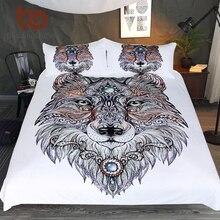 BeddingOutlet Tattoo Head Wolf Wild Beast Bedding Set Noble Animal Print Duvet Cover Set Microfiber Bedspread for Bedroom Queen