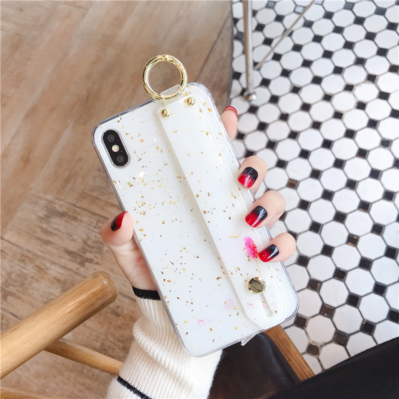 9 SoCouple Wrist Strap Soft TPU Phone Case For iphone 7 8 6 6s plus Case For iphone X Xs max XR  Marble Gold Foil Holder Case