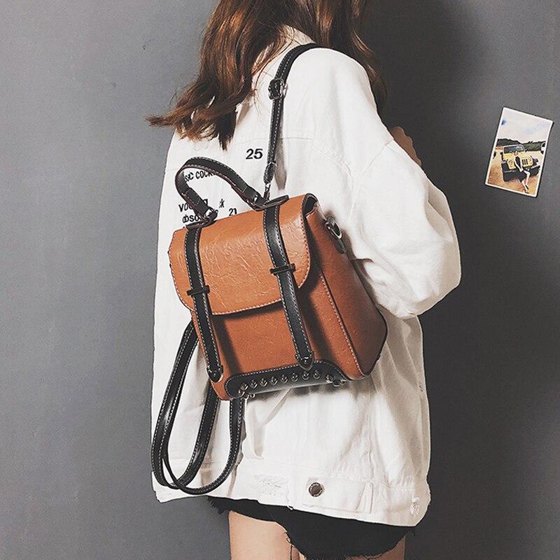 936c9f804cfd Модные рюкзаки женщина 2018 Мини кожаный рюкзак женский сплошной цвет Малый  сумки на плечо Mochila Backbag школьный для обувь девочек