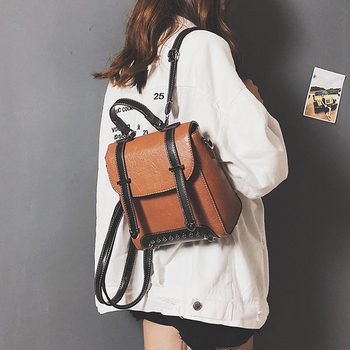 8ec9383c1 De moda mochilas para mujer 2018 Mini Mochila de cuero de mujer de Color  sólido hombro bolsas Mochila de cosméticos Mochila para las niñas