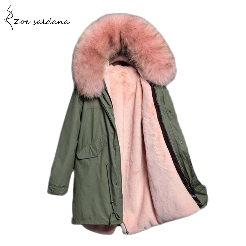 Zoe Saldana 2017 Long Winter Jacket Women Thick Fur Liner Parkas Natural Real Fur Collar Winter Coat Hooded Warm Outwear zoe saldana 2017 winter women coat long cotton jacket fur collar hooded letter print outerwear femme casual parka