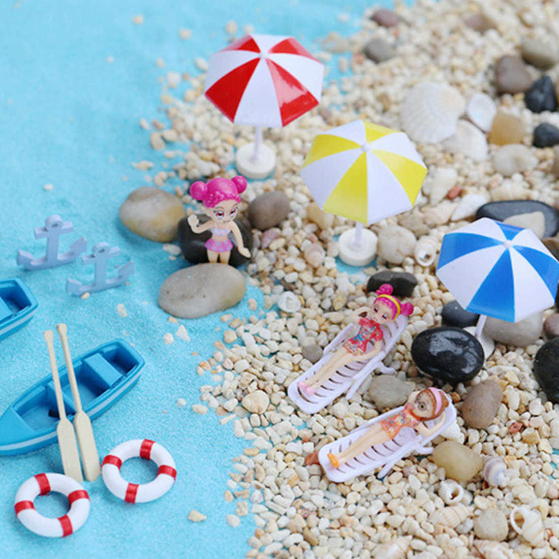 New Mini Artificial Beach Chair Micro Fairy Garden Figurine Miniature/Terrarium/Doll House Decoration Ornament DIY Accessories
