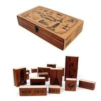 17 Arten DIY Machen Erinnerungen Briefmarken Vintage Holz Gummi Stempelkissen Stempel Eisen-kasten Sealing Stamp Set