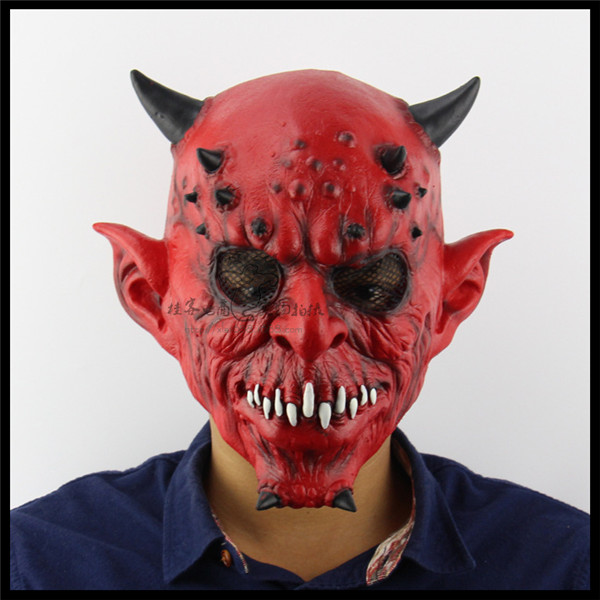 Hot Sale Full Face Mask Red Silicone Latex Horror Ox Horn