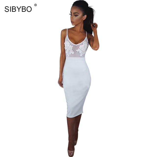 Sibybo Lace Dress SIBYBO Lace Halter Top Sexy Slim Backless Dress Spring Women Vintage  Sleeveless Applique Chiffon Party Dress Bodycon Vestidos