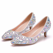 2019 Luxurious Pumps Wedding Shoes White Rhinestone Bride Shoes Small Kitten Heel Women Party Shoes High Heels Pumps XY-A0301 2018 classic wedding dress shoes white pearl bride shoes party high heels 5 inches heel top grade leather pumps rhinestone