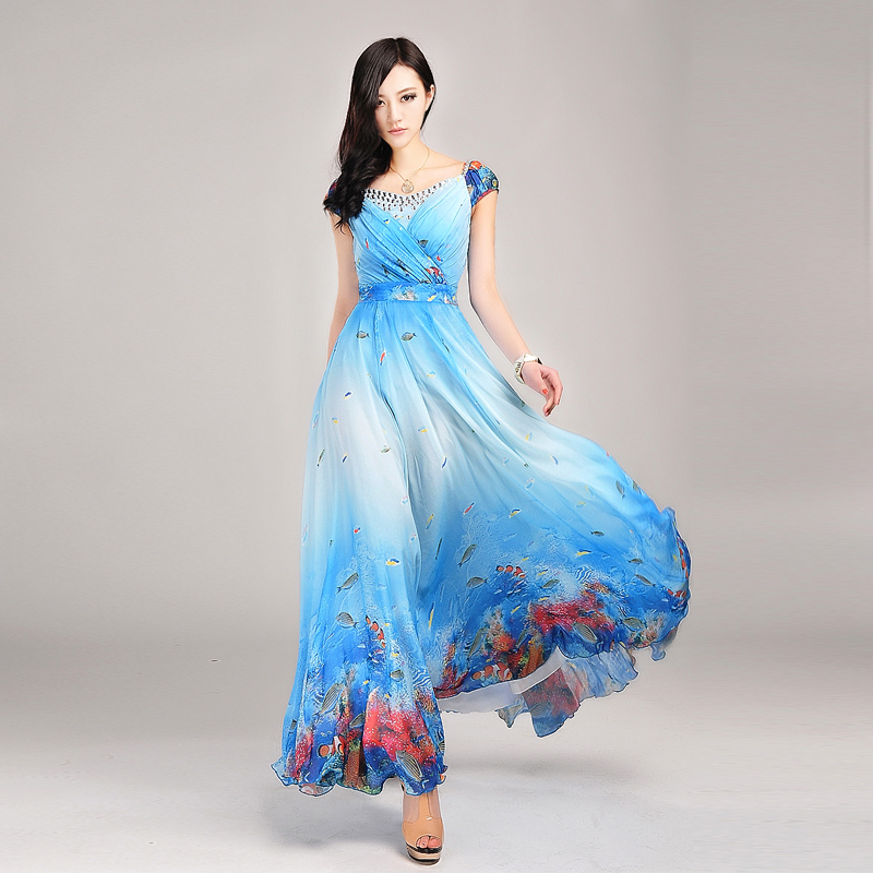 Online Get Cheap V Neck Long Sleeve A Line Maxi Chiffon Dress ...