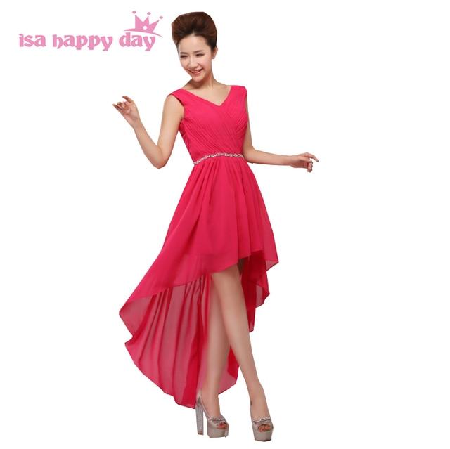 Benutzerdefinierte maxi fuchsia chiffon high low hot rosa tragen ...