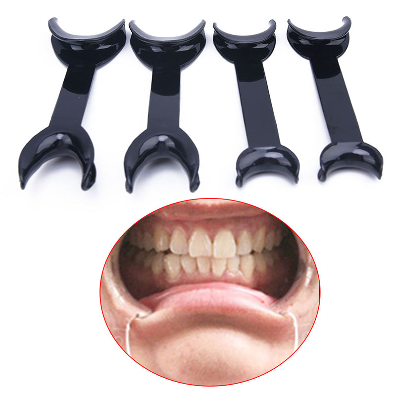 4PCS Black T-Shape Mouth Openers Intraoral Cheek Lip Retractor Opener Double Head Orthodontic Teeth Mouth Opener Dental Tool