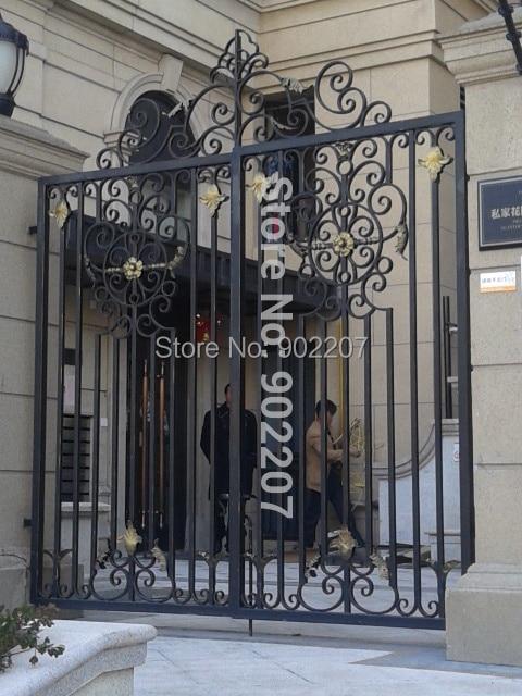 Custom Large Size Of Black Color Powder Coat Wrought Iron Gates