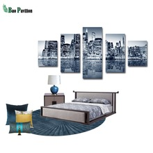 City Canvas Wall Building Landscape Art Print Home Decor For Living Room Decorative Pictures 5 Piece Panel Large Poster HD