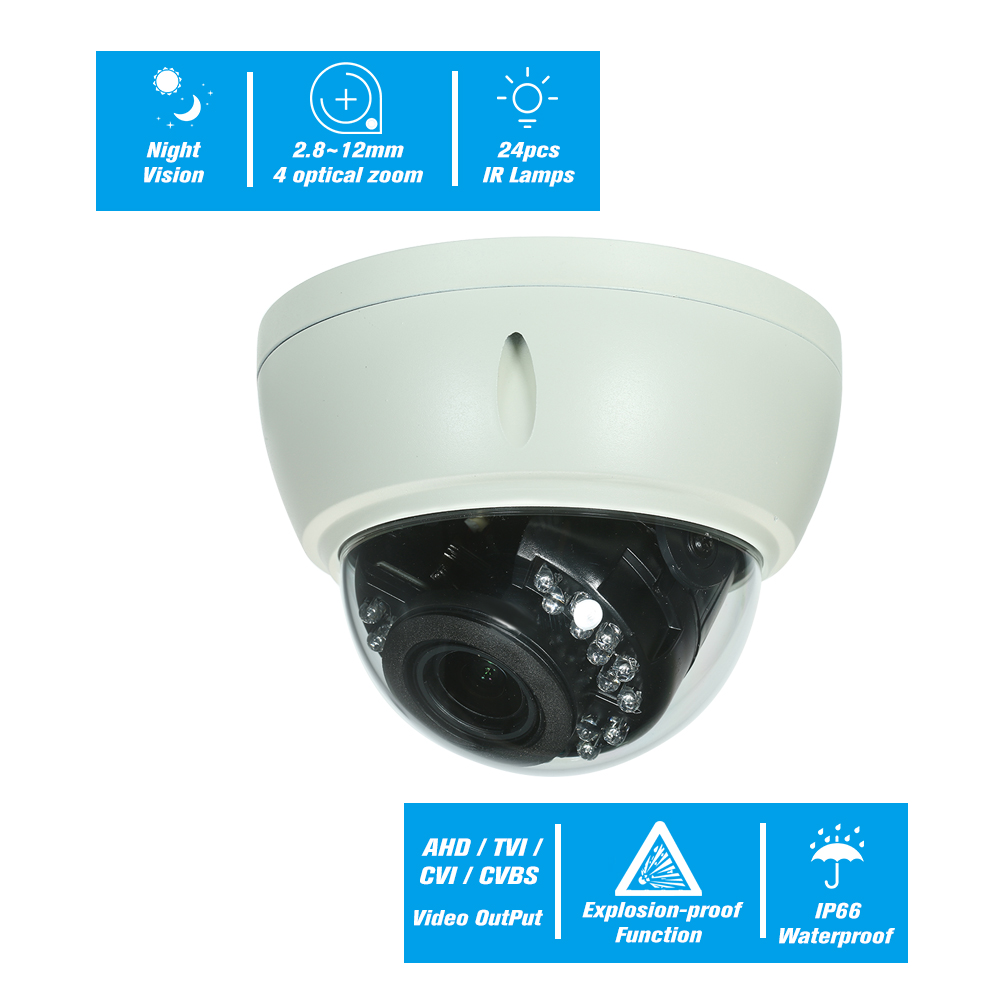 4MP AHD IR Dome CCTV Analog Camera 2 8 12mm 4X Optical Manual Zoom Internal Focusing