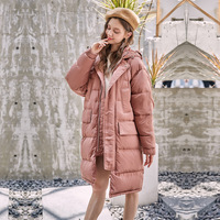 Geometric pattern design thickened white duck down warm Winter women's down jacket loose long section Women's winter clothing