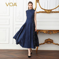 VOA Plus Size Heavy Silk Jacquard Hollow Out Lace Long Dress Navy Blue Sleeveless High Waist Slim Tunic Dress Women Spring A160