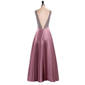 Image 4 - Menoqo V Neck Beads Bodice Open Back A Line Long Evening Dress Party Elegant Vestido De Festa Fast Shipping Prom Gowns