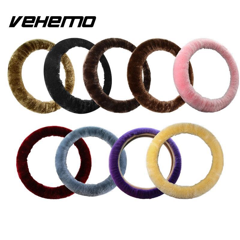 Vehemo 3pcs/1set Steering Wheel Cover Sets Handbrake Steering Warm Car Steering Wheel Hand Brake Cover