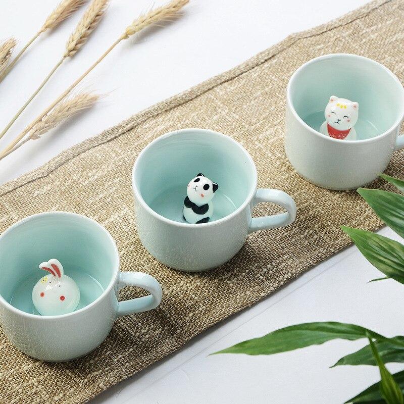 Creative 230ML 3D kawaii kreslený zvíře Keramické mléko pohár roztomilý Panda Kávový hrnek narozeninový dárek