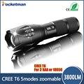 E17 Del Cree LED Flashlight 3800 Lúmenes Táctico Impermeable Zoomable Potente XML T6 Lámpara Que Acampa Linterna LLEVÓ linternas
