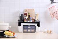 Kitchen Multi functional Plastic Shelf Condiment Box, Condiment Pot, Bottle Set Knife Holder