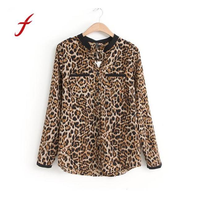 Camiseta leopardo de Camiseta gasa manga mujeres de Casual de larga Las  nuevas blusas estampado Slim pqXXI 8d2c5d0c51ab