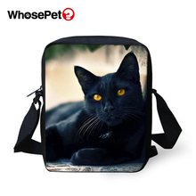 WHOSEPET Kawaii Black Cats Women Messenger Bags Animal Cross Body Shoulder Cool Girls School Lady Mini Flap Postbags
