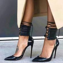 Sexy Black Patent Leather Two-piece Pumps Women Shoes Pointed Toe Ankle Lace-up Stiletto Heels Night Club Dress Shoes Plus Size недорого