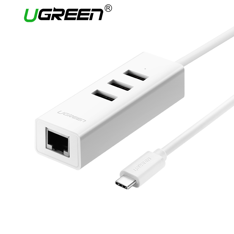 Ugreen USB C to Ethernet Adapter with Type C USB 2.0 HUB 3 Ports RJ45 Network Card Lan Adapter for Macbook USB-C Type-C Ethernet high quality usb 3 1 usb 3 0 3 port hub type c to 1000m rj45 lan card gigabit ethernet network adapter for macbook pc laptop
