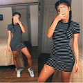 2017 Casual Spring Women Dress Short Sleeve Round Neck Slim Fit Bodycon Dress Striped T Shirt Womens Dresses