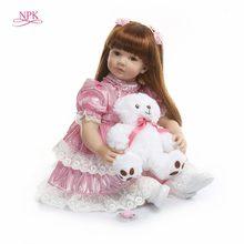 NPK-Muñeca de juguete de silicona de 60cm para niña, muñeca de juguete de vinilo para niña, princesa exquisita, bebé vivo, regalo de cumpleaños para niños, juguete para jugar a las casitas