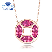 Real 18K Rose Gold Natural Tourmaline Pendant Necklace Loving Fine Jewelry for Mom Wife Christmas Gift WP066